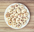 Tasty canapes with butter and onion, food theme Royalty Free Stock Photo