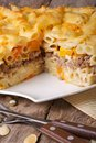Tasty casserole: baked penne pasta with meat and pumpkin Royalty Free Stock Photo