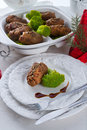 Tasty cattle roulades a fresh and Stock Images