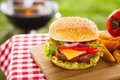 Tasty cheeseburger with melted cheddar cheese dripping over ground beef burger garnished fresh salad ingredients and served Royalty Free Stock Image