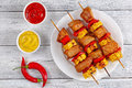 Tasty Chicken shish kebab on skewers Royalty Free Stock Photo