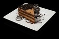 Tasty chocolate cake with chips on white plate Stock Images