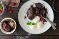 Tasty chocolate cake with different berries and ice cream Royalty Free Stock Photo