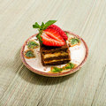 Tasty chocolate cake and strawberry Stock Images