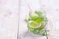 Tasty colorful drink with cold green tea, mint and cucumber in a glass jar Royalty Free Stock Photo