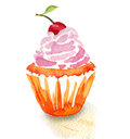 Tasty cupcake with cherry watercolor painting on white background Royalty Free Stock Images