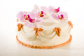 Tasty decorated cake in white marzipan coating with orchid flower decoration Royalty Free Stock Photos