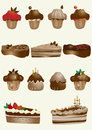 Tasty and decorated pastries cupcakes and pies Royalty Free Stock Photography