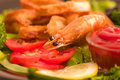 Tasty deep fried squid rings and fried prawn Royalty Free Stock Photography