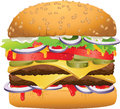 Tasty delicious hamburger vector illustration of a huge Stock Photos
