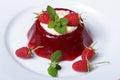 Tasty dessert raspberry jelly with mint and cream horizontal Royalty Free Stock Photo