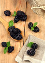 Tasty dessert sweet blackberry on wooden table Royalty Free Stock Photo