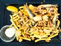 Tasty dish of fried fish, with chips
