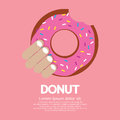 Tasty doughnut hand holding a vector illustration eps Royalty Free Stock Image