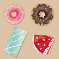 Tasty doughnuts, cake and slice of pie.Vector Stock Images