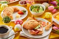 Tasty Easter brunch or spring breakfast Royalty Free Stock Photo
