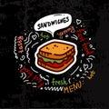 Tasty fast food sandwich menu vector illustration