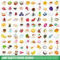 100 tasty food icons set, isometric 3d style Royalty Free Stock Photo