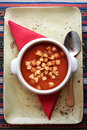 Tasty fresh tomato soup with croutons in white ceramic bowl with Royalty Free Stock Photo