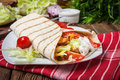 Tasty fresh wrap sandwich. Royalty Free Stock Photo