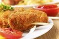 Tasty fried chicken kebob Royalty Free Stock Photo
