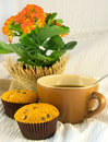Tasty fruitcake and cup of coffee Stock Photography