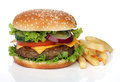 Tasty hamburger and french fries isolated Royalty Free Stock Photo