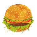 Tasty hamburger tomato pepper cheese ham lettuce white background Stock Photography