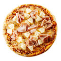 Tasty Hawaiian pizza with ham and pineapple Royalty Free Stock Photo