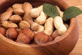 Tasty hazelnuts on a wooden bowl Royalty Free Stock Images