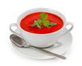 Tasty and healthy tomato soup isolated on white background Stock Photo