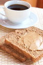 Tasty healthy wholewheat bread and coffee Royalty Free Stock Photo