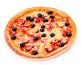 Tasty Italian pizza over white Royalty Free Stock Image