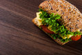 Tasty lunch with natural sandwich Royalty Free Stock Photo