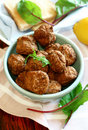 Tasty meatballs in bowl Royalty Free Stock Photography