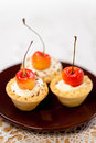 Tasty mini tarts baskets Royalty Free Stock Images