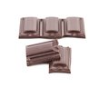 Tasty morsel of dark chocolate white background Stock Images