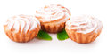 Tasty muffin cakes, isolated on white Royalty Free Stock Photo