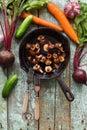 Tasty nutritious vegetarian meal. Fried Slippery Jack mushrooms Royalty Free Stock Photo