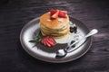 Tasty pancake with strawberries Royalty Free Stock Photo