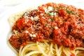 Tasty pasta-Italian meat sauce pasta Royalty Free Stock Image