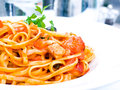 Tasty pasta italian meat sauce pasta on the table Royalty Free Stock Images