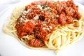 Tasty pasta italian meat sauce pasta on the table Royalty Free Stock Photos