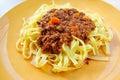 Tasty pasta italian meat sauce pasta on the table Royalty Free Stock Image