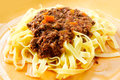 Tasty pasta italian meat sauce on the table Royalty Free Stock Image