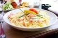 Tasty pasta with salmon Stock Photo