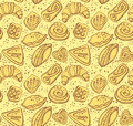 Tasty pastries seamless pattern of Royalty Free Stock Photo