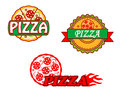 Tasty pizza banners and emblems Stock Images