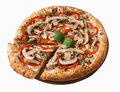 Tasty pizza with chicken, mushrooms and pepper, isolated Royalty Free Stock Photo