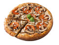 Tasty pizza with chicken, mushrooms and tomato isolated Royalty Free Stock Photo